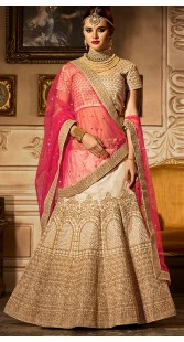 Ivory Banglori Silk Wedding Lehenga With Pink Dupatta