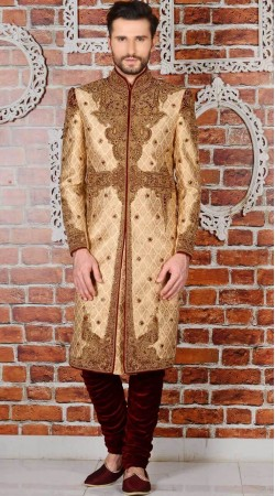 Jacquard Golden Wedding Designer Sherwani