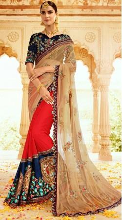 Kathakali Face Work Designer Saree With Blouse
