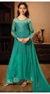 Kid Girl Sea Green Anarkali Salwar Kameez