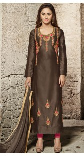 Krystle DSouza Chocolate Brown Long Kameez With Cigarette Pant