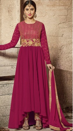 Krystle Dsouza Magenta Asymmetrical Salwar Suit