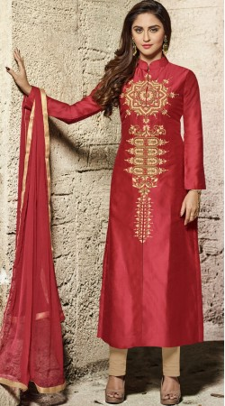 Krystle DSouza Red Front Cut Kameez With Parallel Pant