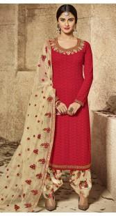 Krystle Dsouza Red Georgette Punjabi Salwar Suit