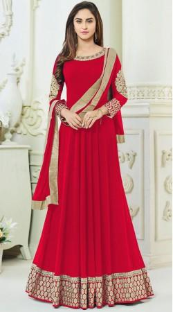 Krystle DSouza Red Party Wear Anarkali Salwar Kameez