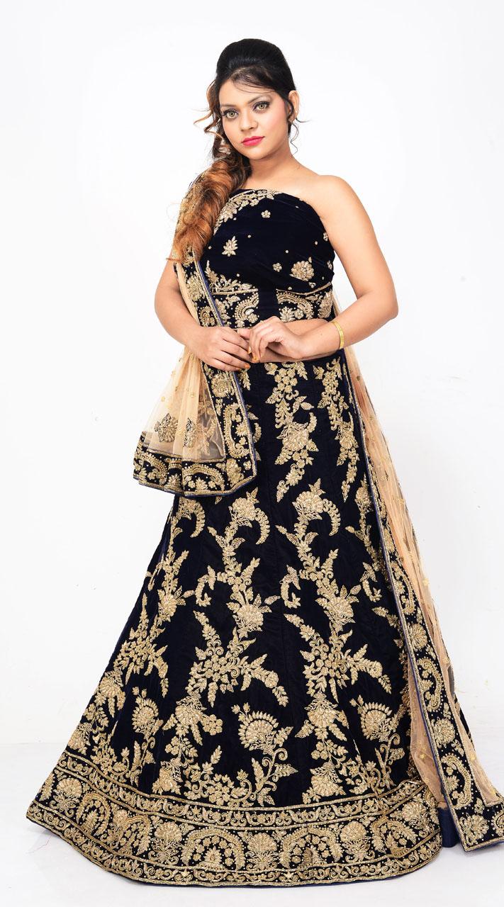 bridal wear royal blue velvet lehenga choli ld05055