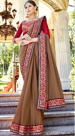 Light Brown Georgette Saree With Contrast Blouse