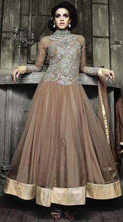 Light Brown High Collar Neck Anarkali Suit