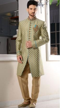 Light Green Brocade Men Sherwani For Wedding
