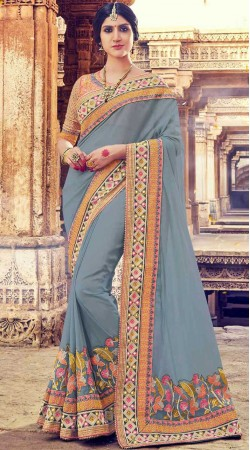 Light Grey Georgette Party Saree With Contrast Blouse