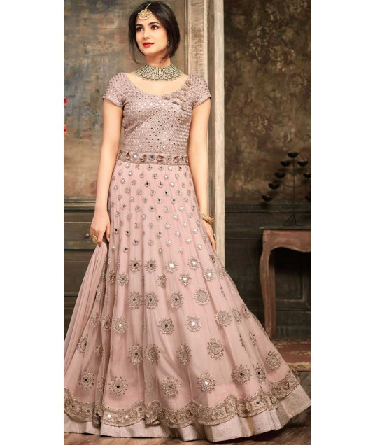 Light Onion Pink Net Anarkali Salwar Kameez