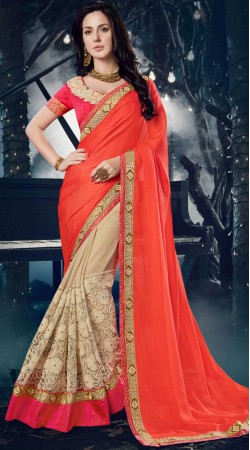 Light Red And Off White Party Wear Saree