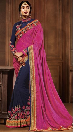 Magenta And Blue Party Saree With Long Sleeves Blouse