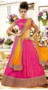 Magenta Banglori Silk Short Choli Lehenga With Contrast Dupatta