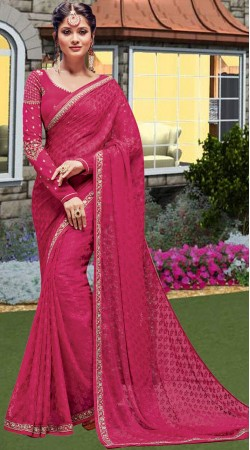 Magenta Brasso Party Saree With Full Sleeves Blouse