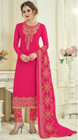 Magenta Embroidery Work Parallel Pant Suit