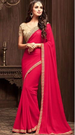 Magenta Georgette Border Saree With Contrast Blouse