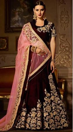 Maroon Velvet Designer Bridal Lehenga Choli
