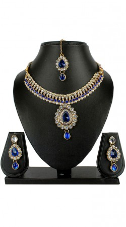 Modernistic Necklace Set With Maang Tika For Party