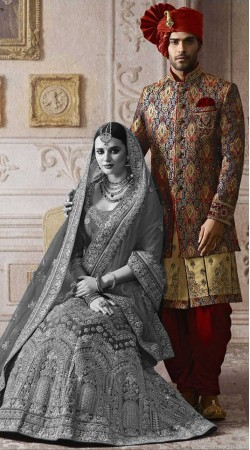 Multicolor Groom Wedding Dhoti Sherwani