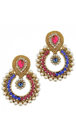 Multicolor Stone And Pearl Moti Work Earrings