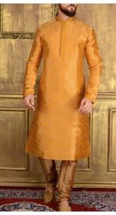 Mustard Jacquard Churidar Kurta Pajama