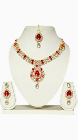 Necklace Set With Maang Tika For Party