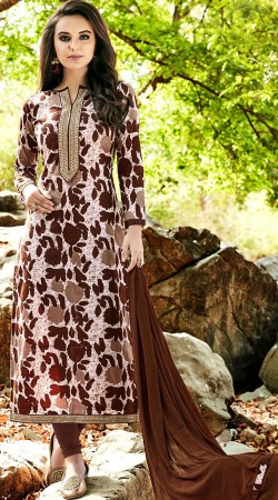Off White And Brown Cambric Cotton Salwar Kameez
