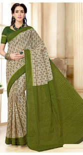 Off White And Green Pure Cotton Print Saree