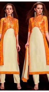 Off White Banarasi Silk Parallel Pant Suit