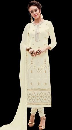 Off White Emboridery Work Churidar Suit
