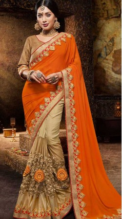 Orange And Beige Party Saree With Blouse