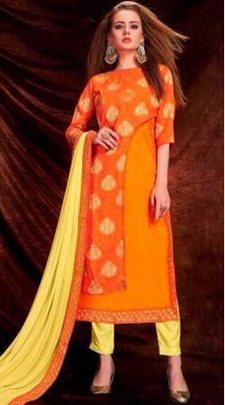 Orange Banarasi Silk Long Kameez With Parallel Pant