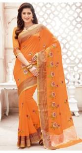 Orange Chanderi Cotton Saree With Floral Work