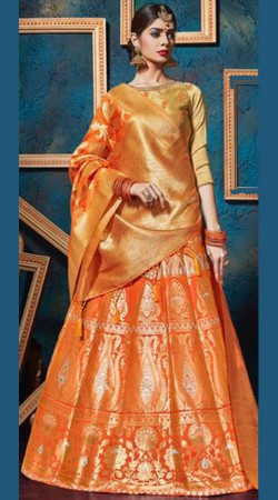 Orange Jacquard Silk Lehenga Choli For Wedding