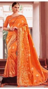 Orange Party Saree With Cold Shoulder Blouse