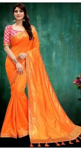 Orange Two Tone Silk Saree With Tassel Work