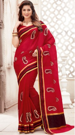 Paisely Pattern Red Chanderi Cotton Saree