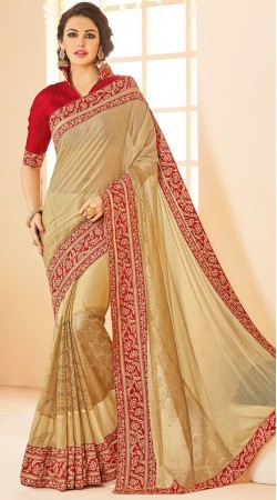 Party Wear Beige Linen Silk Saree With red Blouse