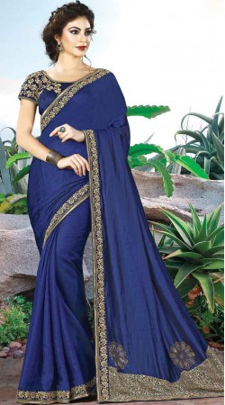 Party Wear Blue Dual Tone Silk Saree With Matching Blouse
