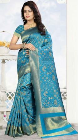 Party Wear Blue Kanjivaram Silk Saree With Blouse