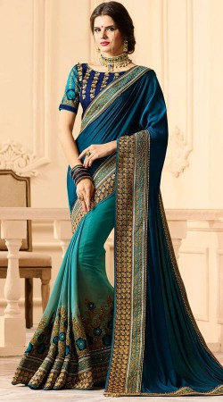 Party Wear Blue Silk Satin Saree With Blouse