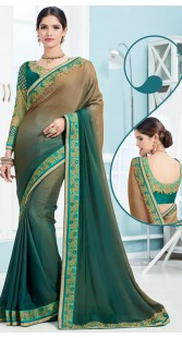 Party Wear Brown And Green Soft Silk Saree