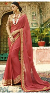 Party Wear Chiffon Saree With Designer Blouse