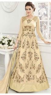 Party Wear Cream Anarkali Salwar Kameez