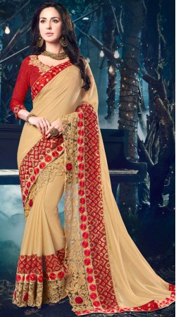 Party Wear Cream Saree With Contrast Red Blouse