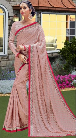 Party Wear Dusty Pink Brasso Saree With Blouse