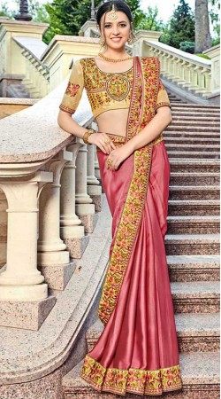 Party Wear Embroidery Work Border Saree