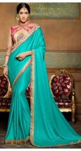 Party Wear Firozi Pure Crepe Border Saree