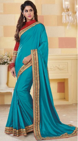 Party Wear Firozi Silk Saree With Contrast Blouse